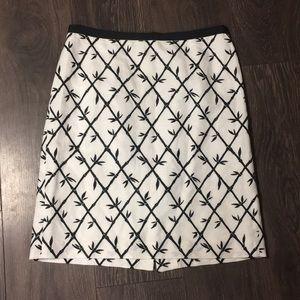 Talbots Black & White Leaf Print Pencil Skirt